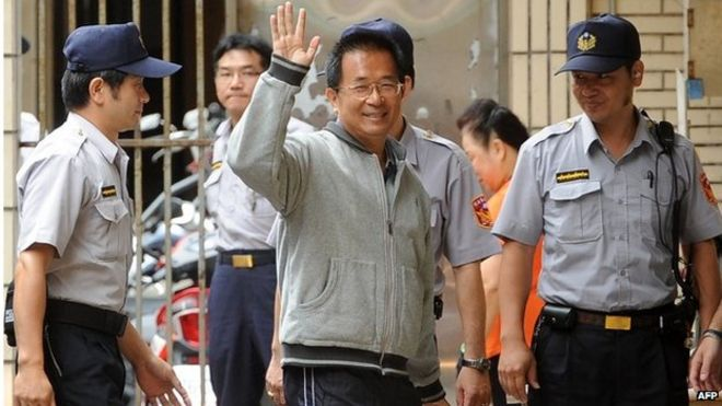 Chen Shui-bian arriving at Taiwan's high court in 2011