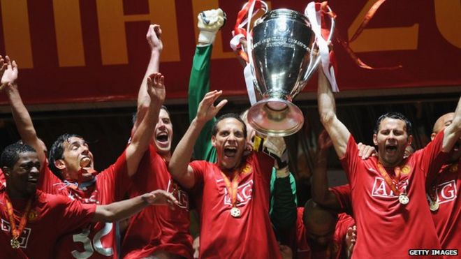 Manchester United Celebrate Winning The Champions League In 2008
