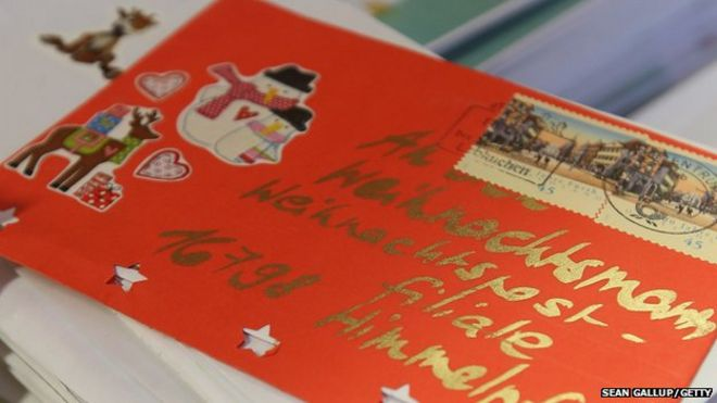Irelands an post returns santa letter to three year old bbc news a letter to santa lies among many others on a table at the post office on spiritdancerdesigns Images