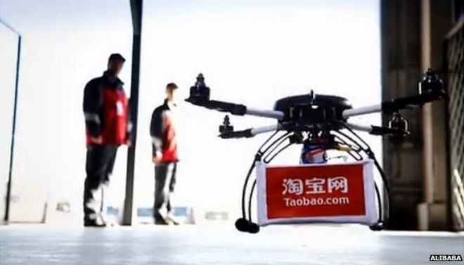 Image Copyright ALibaba Caption Alibaba Is Using Small Quadcopter Drones To Make Deliveries