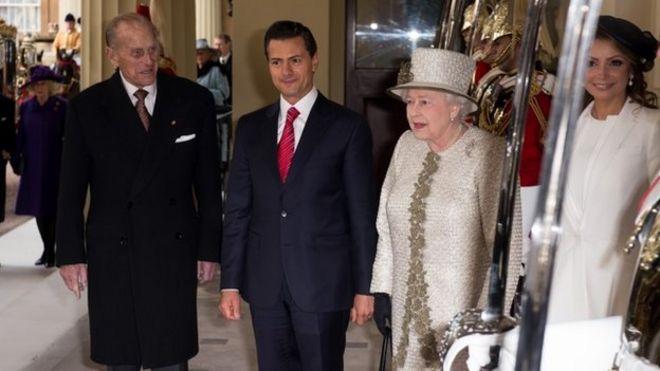 Президент Мексики Энрике Пена Ньето встретился с рядом высокопоставленных лиц, включая королеву и герцога Эдинбургского во время своего визита