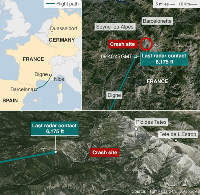 Alps Plane Crash What Happened BBC News - Mountainous aircraft accidents map us