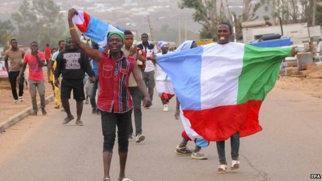 Nigerians celebrate in Jos, 31 March