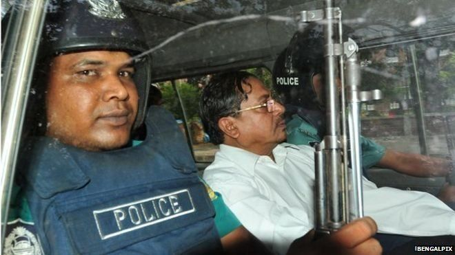 Muhammad Kamaruzzaman deputy head of the Jamaat-e-Isami Political Party being driven either to or from Dhaka Court in May 2013