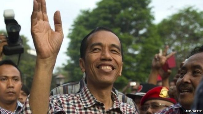 Joko Widodo, the former Jakarta governor, arriving in his hometown in Solo city during a campaign in central Java island on 14 June 2014