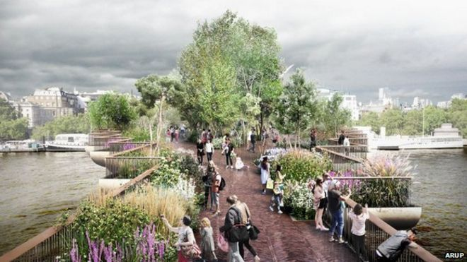 London Garden Bridge Design Of Thames Crossing Unveiled Bbc News - garden bridge design