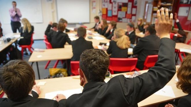 Pupils in secondary classroom