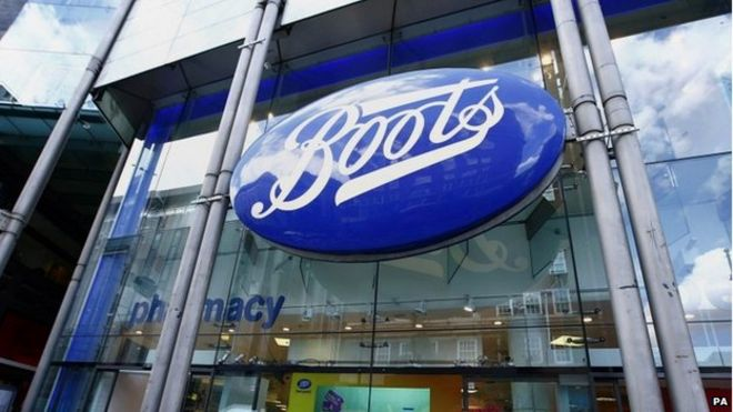 Boots store sign in central London