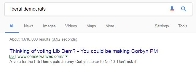When you search for the Liberal Democrats on Google, a Conservative advert appears.