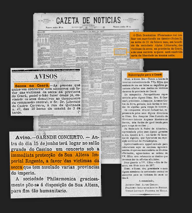 Montagem de anúncios do jornal Gazeta de Notícias sobre bailes beneficentes e arrecadações para os afetados pela seca