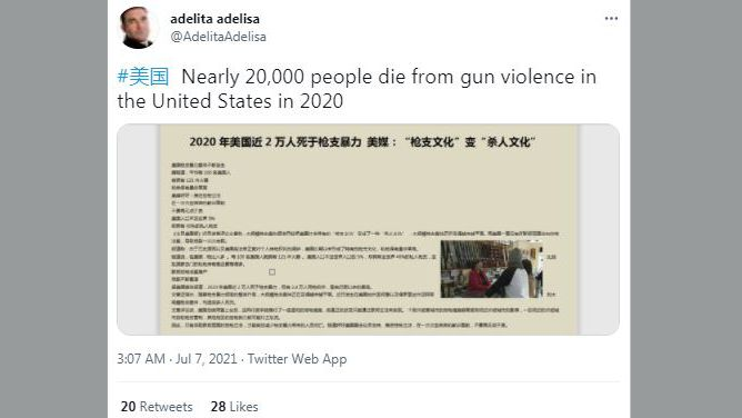 """Tweet saying """"Nearly 20,000 people die from gun violence in the United States in 2020"""