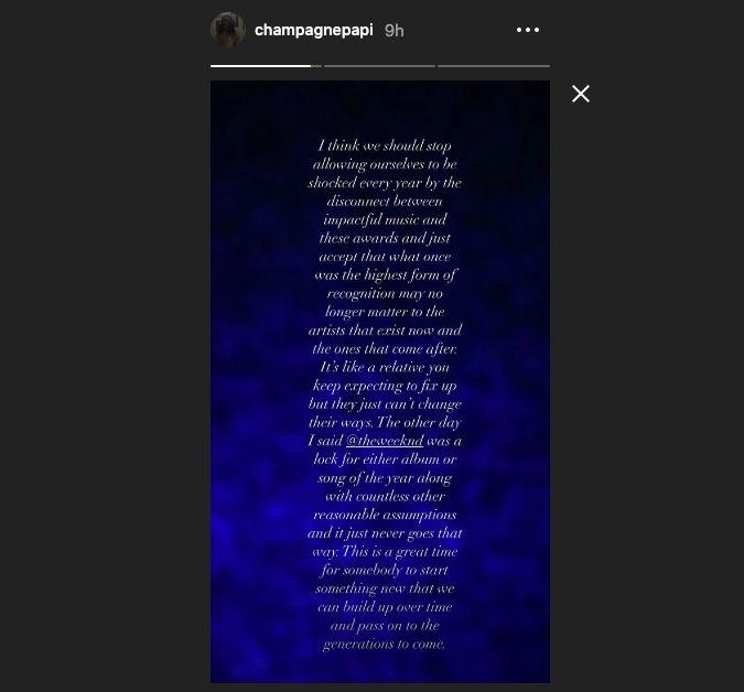 Drake's Instagram statement
