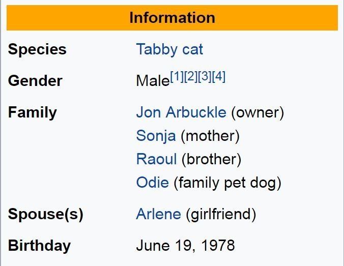 Screengrab of the information section on Garfield's Wikipedia entry