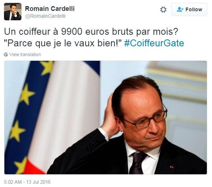 """'A hairdresser that costs 9900 gross per month? """"Because I'm worth it!""""' - was the caption of this tweet posted by a political opponent"""