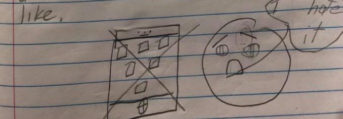A child drew a mobile phone and a sad face when asked which a teacher asked her class which inventions they wished had never been invented