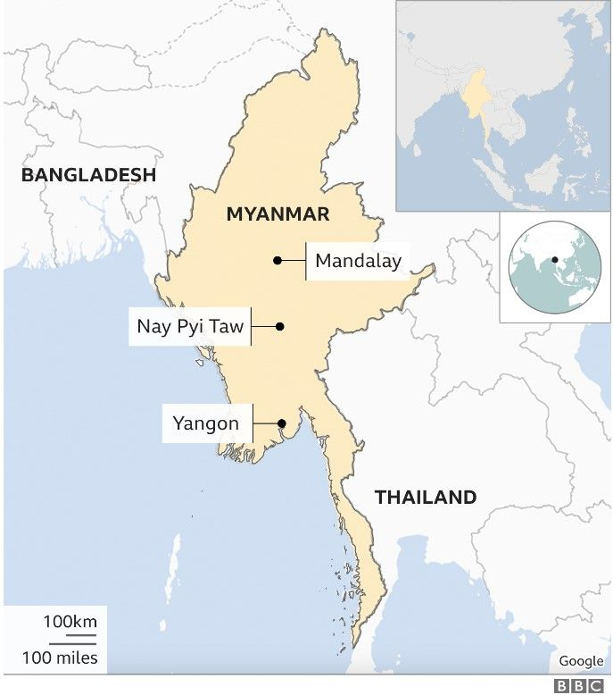 Map of Myanmar showing Mandalay, Nay Pyi Taw and Yangon