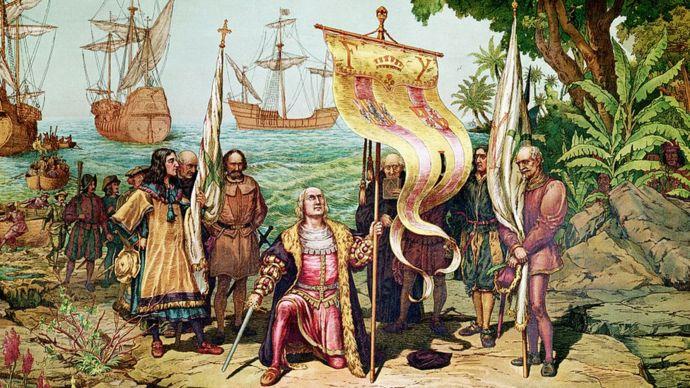 """Ilustración del momento en que Cristóbal Colón llega al """"Nuevo Mundo""""."""