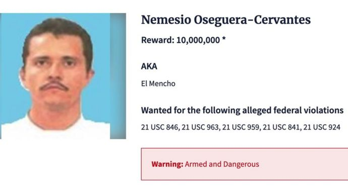 Ficha del Mencho en el sitio web de la DEA.