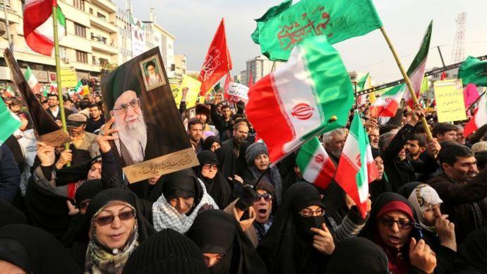 Manifestantes en Irán.