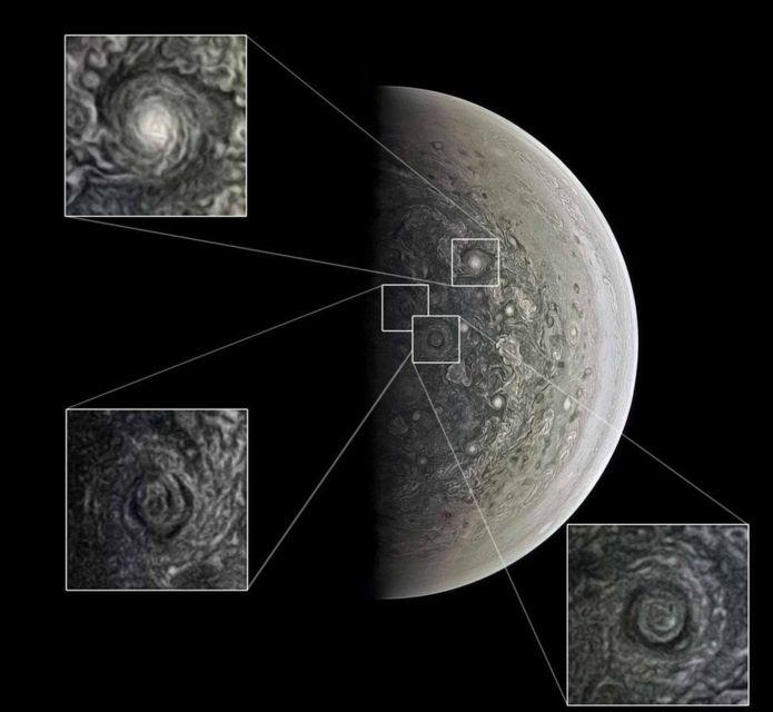 กล้องจูโนแคมถ่ายภาพไซโคลนยักษ์ที่ขั้วของดาวพฤหัสบดีไว้ได้
