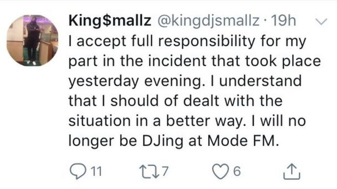 King Smallz tweet