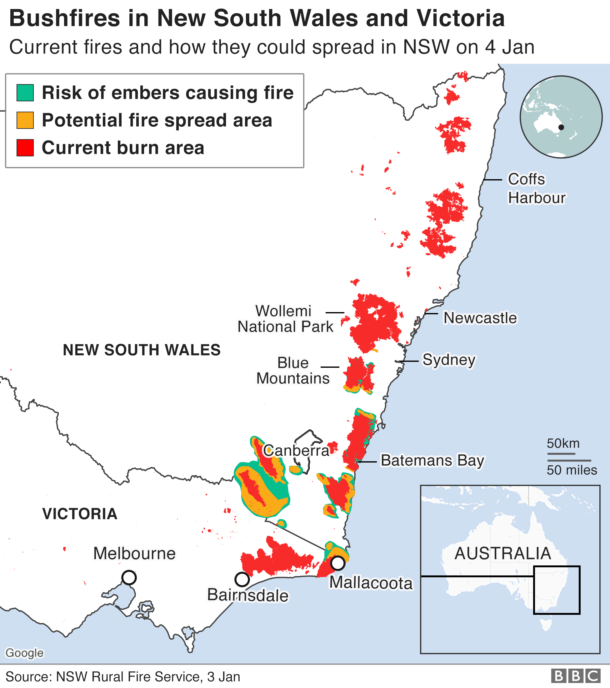 Graphic: possible spread of fires in NSW