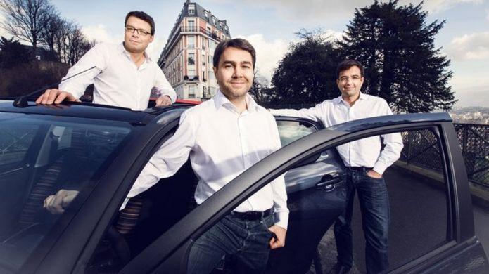 Francis Napez (izda.), Frédéric Mazzella (centro) y Nicolas Brusson (dcha.) son los fundadores de BlaBlaCar.