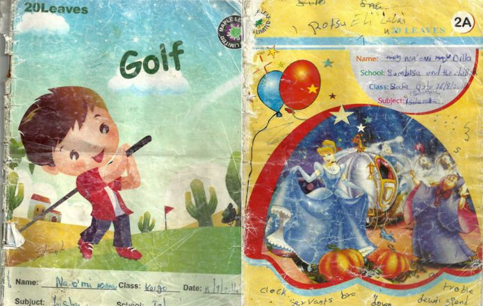Photos of the exercise book covers with the overlaid text