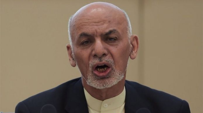 Afghan President Ashraf Ghani talks at the second Kabul Process conference at the Presidential Palace in Kabul on February 28, 2018.