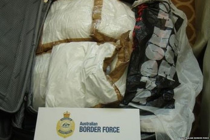 Picture of the cocaine found in the trio's suitcase