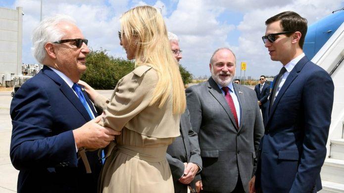 Ivanka Trump greets US Ambassador to Israel David Friedman (L) with her husband Jared Kushner (R) at Ben Gurion International Airport, near Tel Aviv
