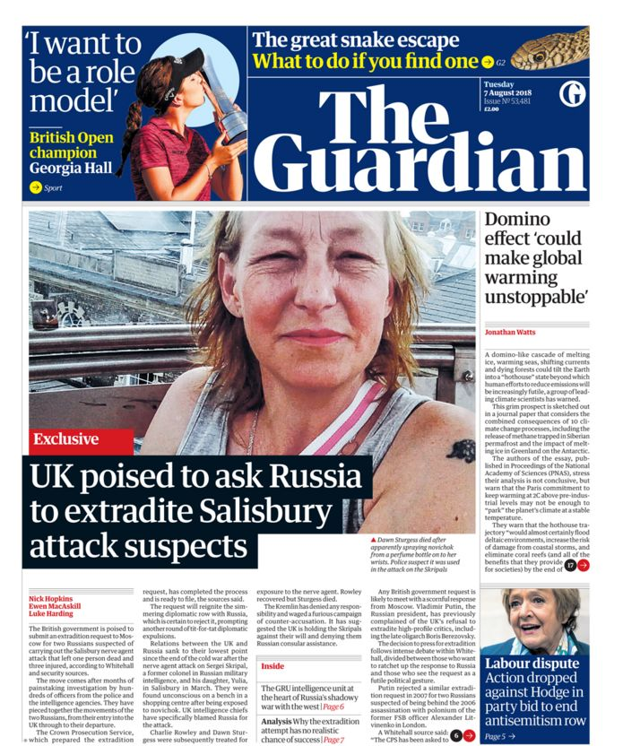 Guardian front page - 07/08/18