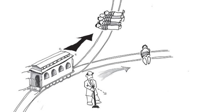 A cartoon man shown diverting a train to save five lives over one life
