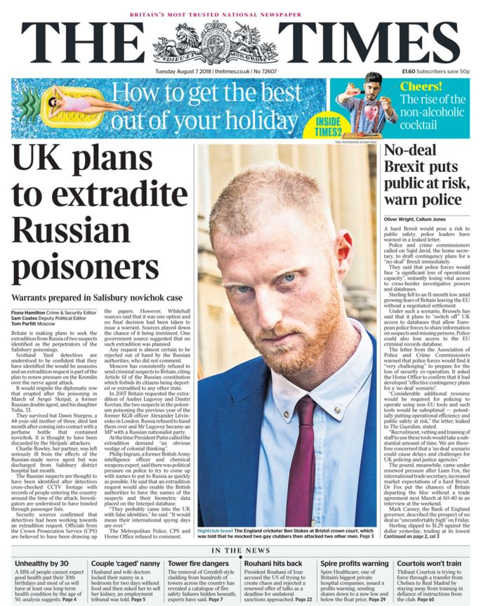 Times front page - 07/08/18