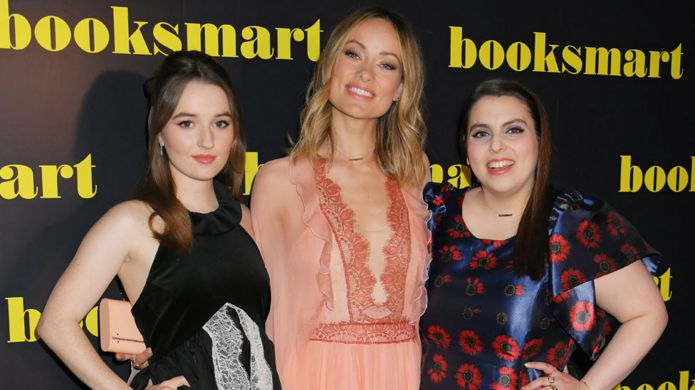 Booksmart director Olivia Wilde (centre) with its stars Kaitlyn Dever (left) and Beanie Feldstein