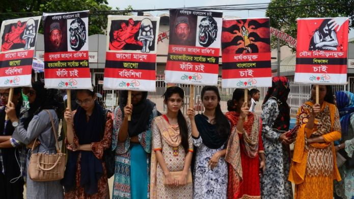 Different organization held a protest rally against the murder of Nusrat Jahan Rafi, a madrasa girl from Feni who was burnt in reprisal after sexual abuse charges against the principal, in Dhaka, Bangladesh, on April 12, 2019