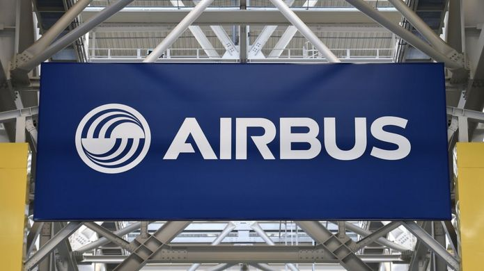 A logo at the Airbus A380 assembly site in Blagnac, southern France, on March 21, 2018.