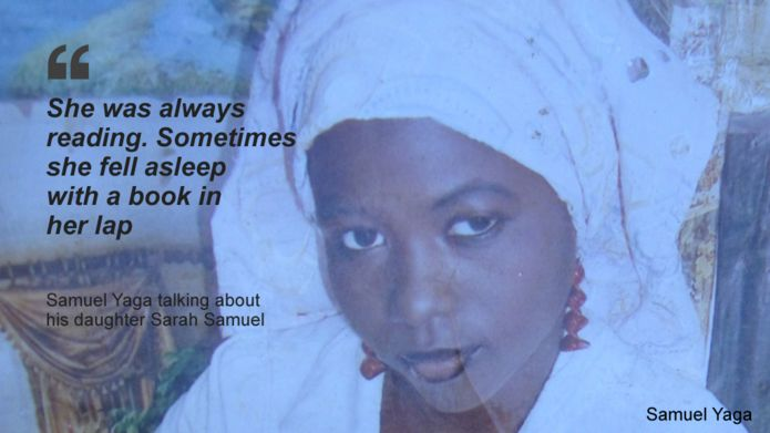 """Picture of Sarah Samuel with a quote from her father saying: She was always reading. Sometimes she fell asleep with a book in her lap"""""""