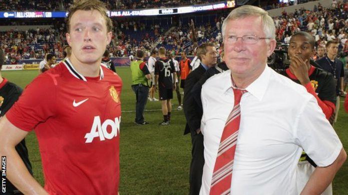 Phil Jones and Sir Alex Ferguson