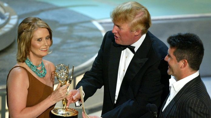 Actress Cynthia Nixon accepts her Emmy from Donald Trump in September 2004 in Los Angeles, California
