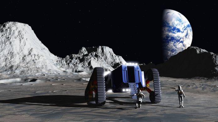 Ilustración de exploración en la Luna