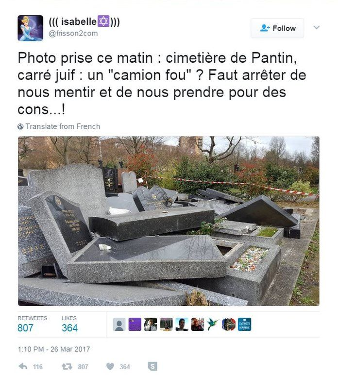 Screenshot of a tweet rejecting claims that the tombs were damaged by a wayward truck