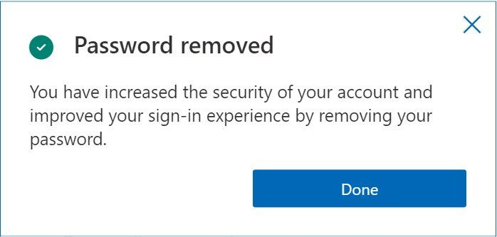 Password removed notification