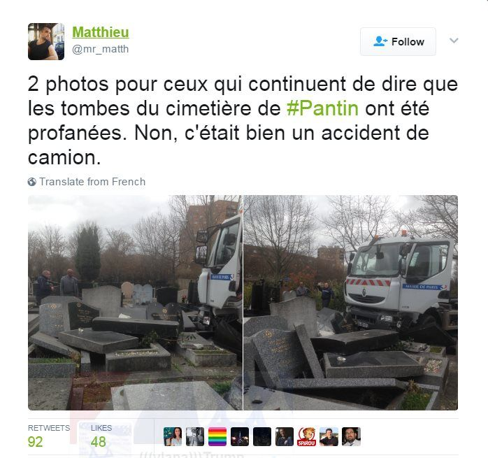 Screenshot of tweet showing that the tombstones were not desecrated and were accidentally hit by a truck