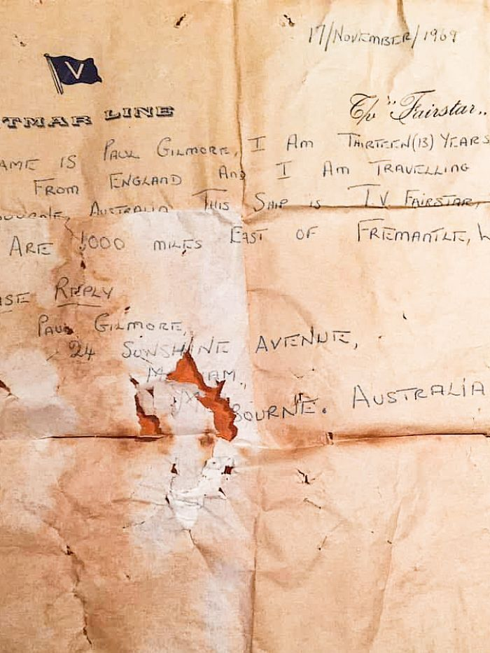 The letter written by Paul Gilmore