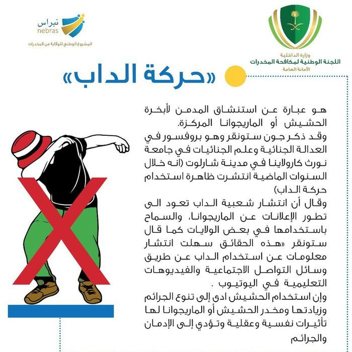 Anti-dabbing infographic from Saudi Arabian National Commission for Combating Drugs