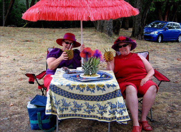 Two women having a drink