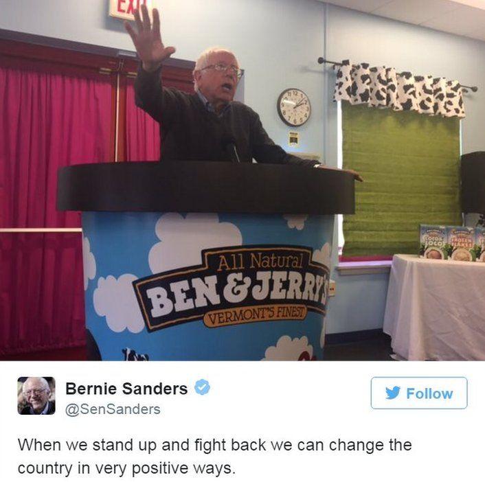 Screen grab of tweet by @SenSanders