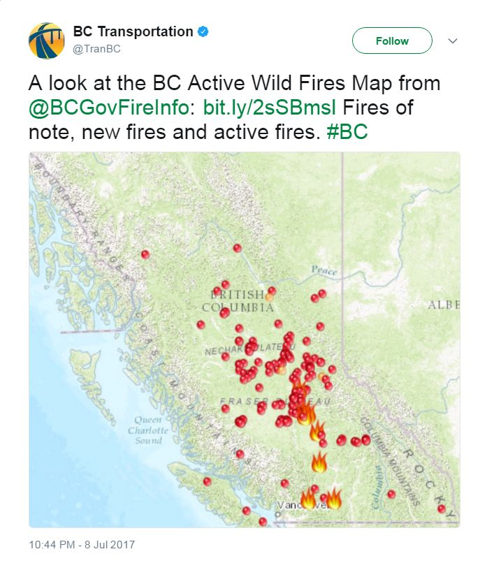 BC Transportation tweets a map showing active wild fires and says: A look at the BC Active Wild Fires Map from @BCGovFireInfo: bit.ly/2sSBmsl Fires of note, new fires and active fires. #BC