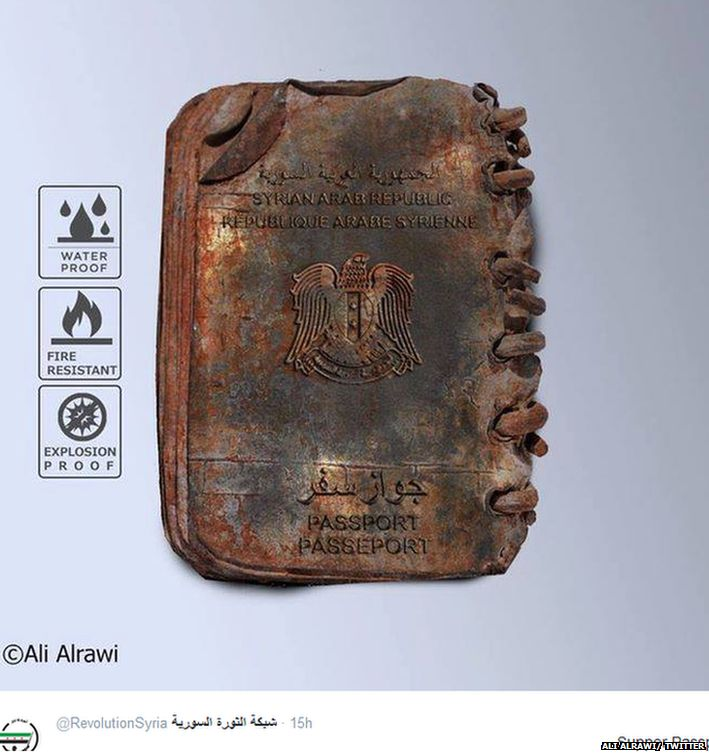 A spoof image of a steel Syrian passport